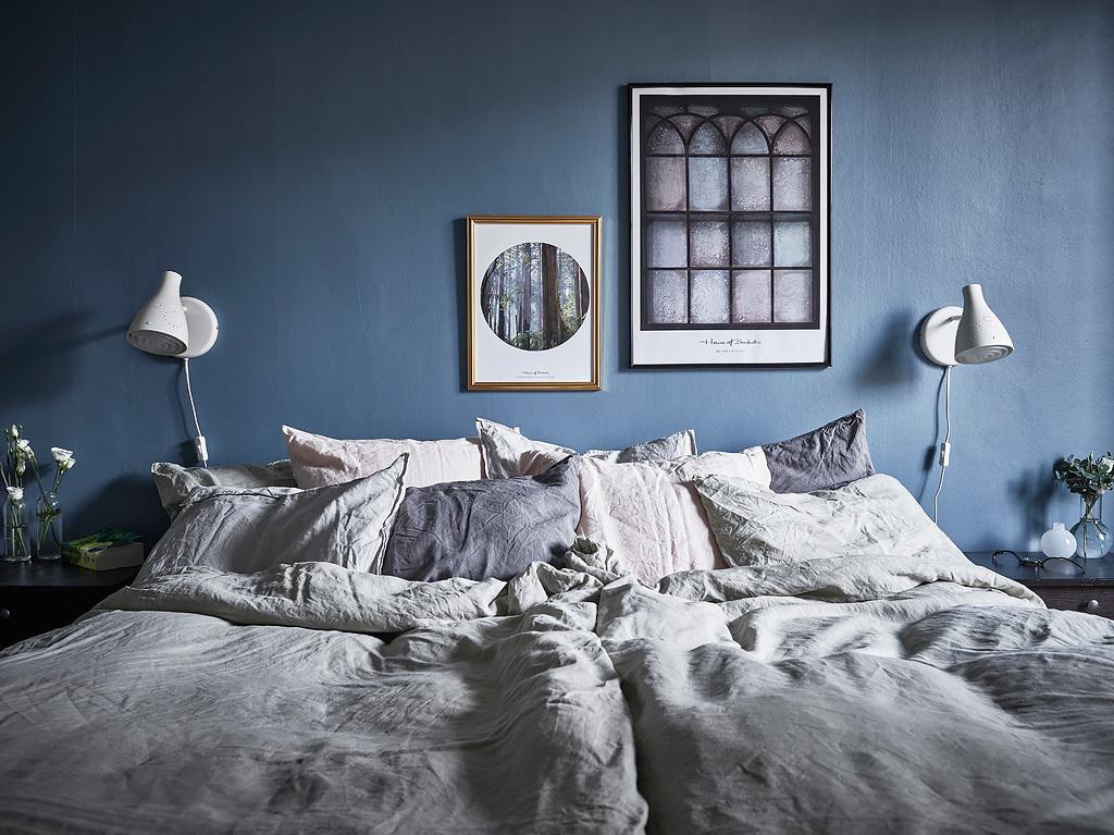 Slaapkamer met mooie blauwe muren interieur inrichting for Mooie slaapkamer