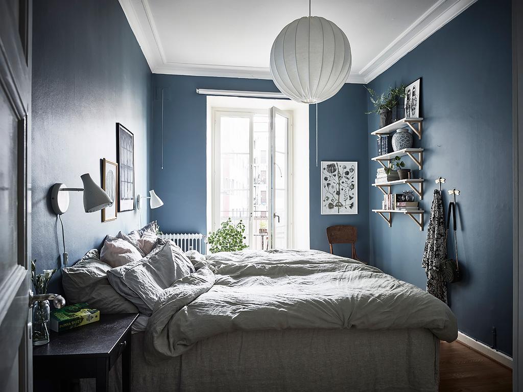Mooi Op De Muur.Slaapkamer Met Mooie Blauwe Muren Interieur Inrichting