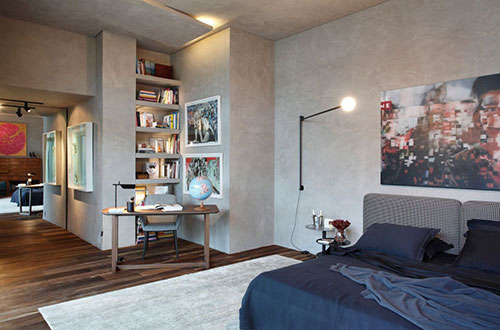 Slaapkamer met mooie deisgnmeubels
