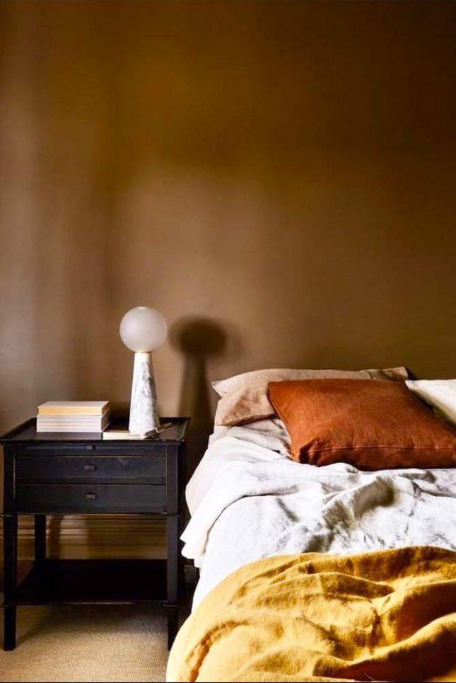 slaapkamer muurkleur inspiratie bruin