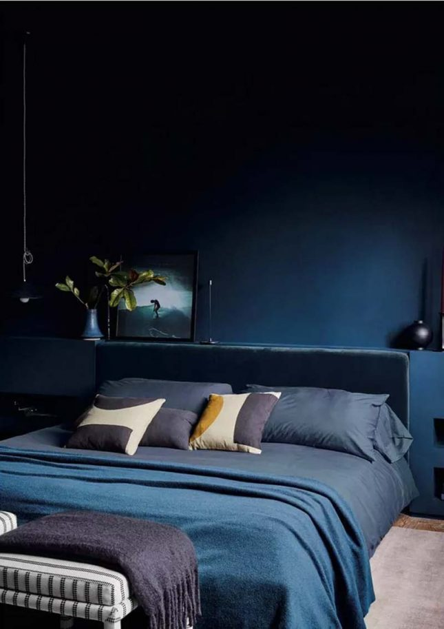 slaapkamer muurkleur inspiratie donkerblauw