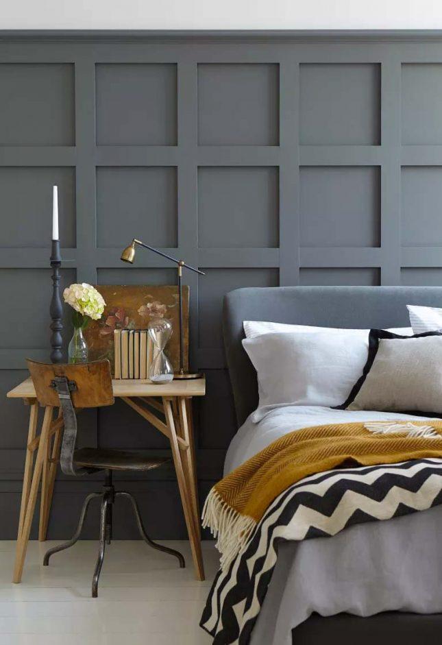 slaapkamer muurkleur inspiratie donkergrijs