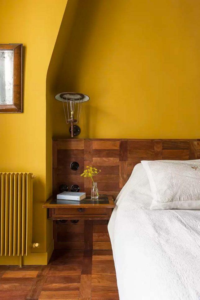 slaapkamer muurkleur inspiratie okergeel