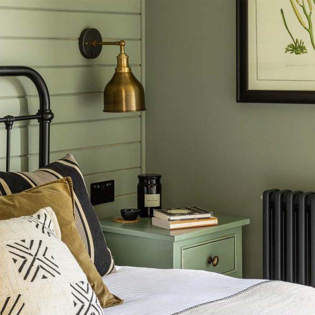 slaapkamer muurkleur inspiratie olijfgroen