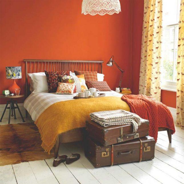 slaapkamer muurkleur inspiratie oranje
