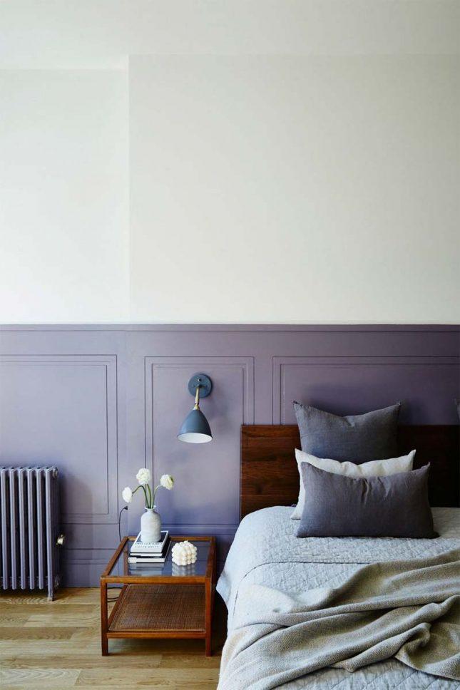 slaapkamer muurkleur inspiratie paars