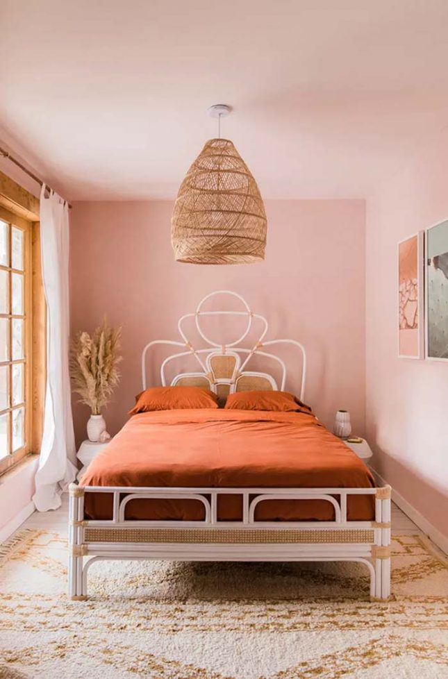 slaapkamer muurkleur inspiratie roze
