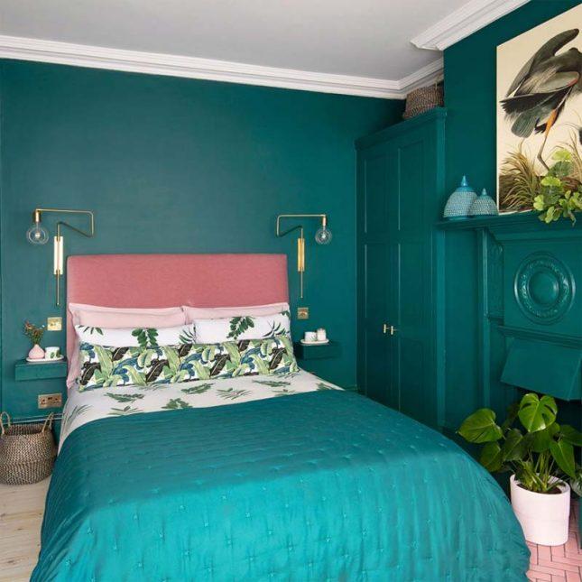 slaapkamer muurkleur inspiratie teal