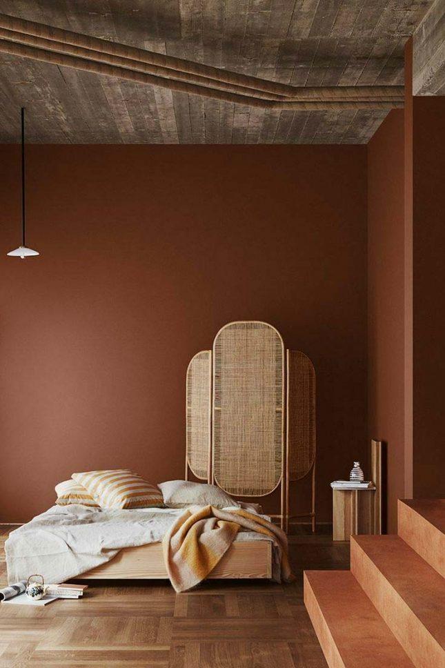 slaapkamer muurkleur inspiratie terracota