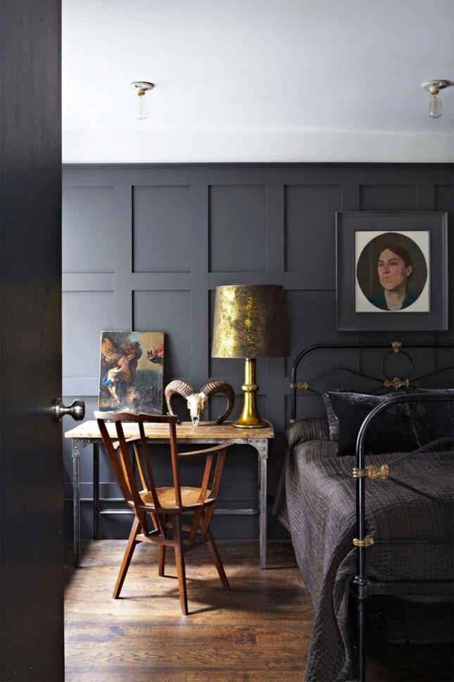 slaapkamer muurkleur inspiratie zwart