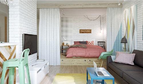 Slaapkamer ontwerpen in kleine woonkamer
