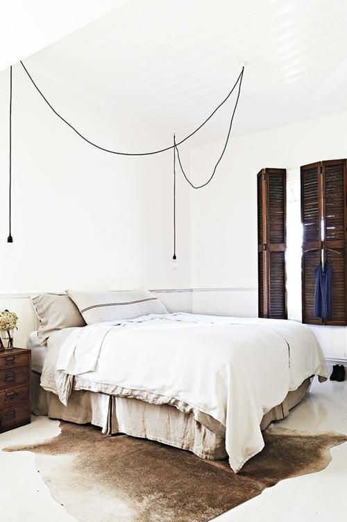 Slaapkamer vakantiehuisje van interieurstylist