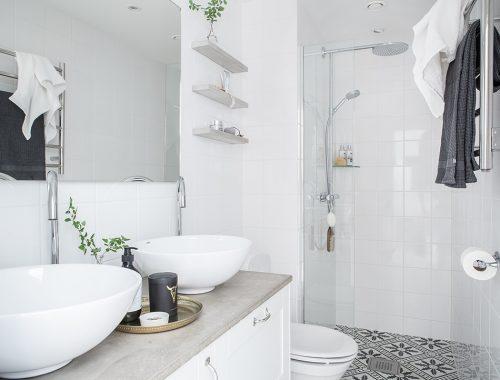 Smalle frisse compacte badkamer