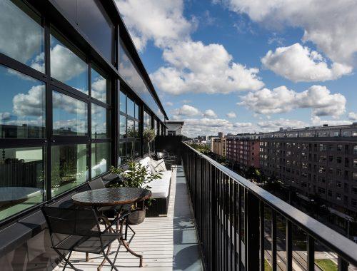Smalle lange balkons