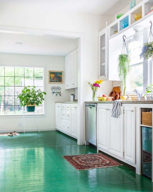 smaragdgroene vloer verven