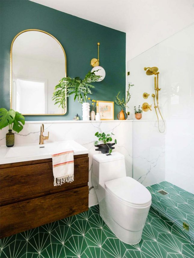 smaragdgroene vloertegels badkamer
