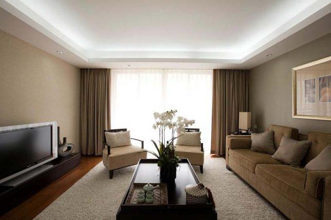 spanplafond woonkamer-verlaagd-verlichting