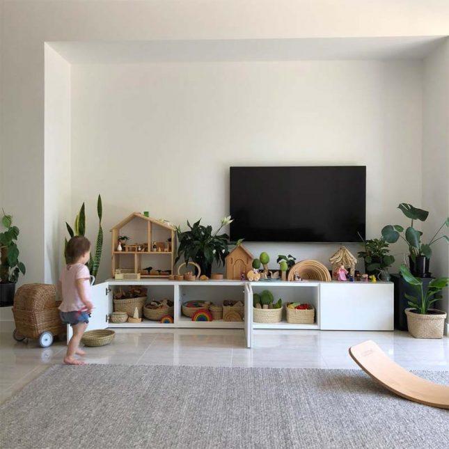 Speelgoed opbergen IKEA TV meubel