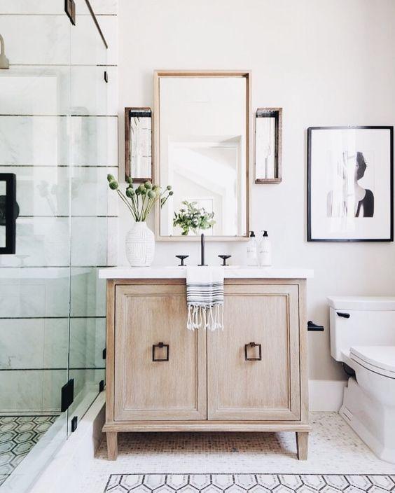spiegel lijsten combineren in badkamer