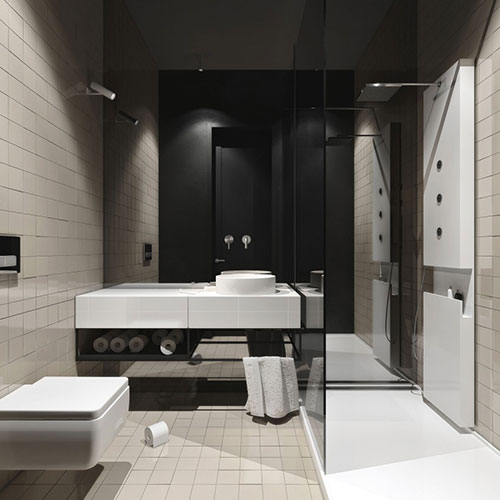 Spiegelwand in badkamer ontwerp