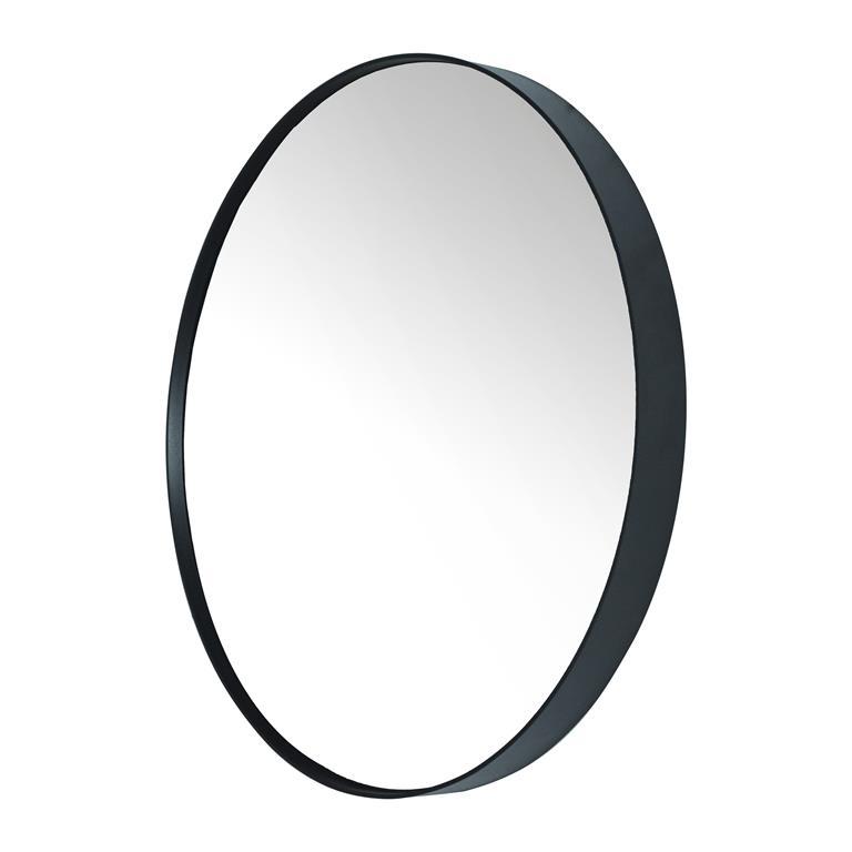 Grote ronde spiegel met zwarte lijst