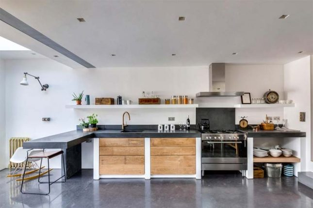 stoere keuken betonnen aanrechtblad