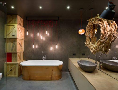 Stoere loft badkamer uit Kiev