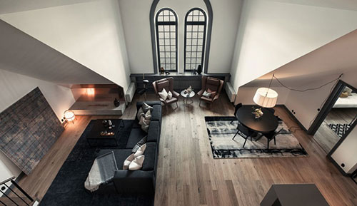 Stoere sfeervolle woonkamer