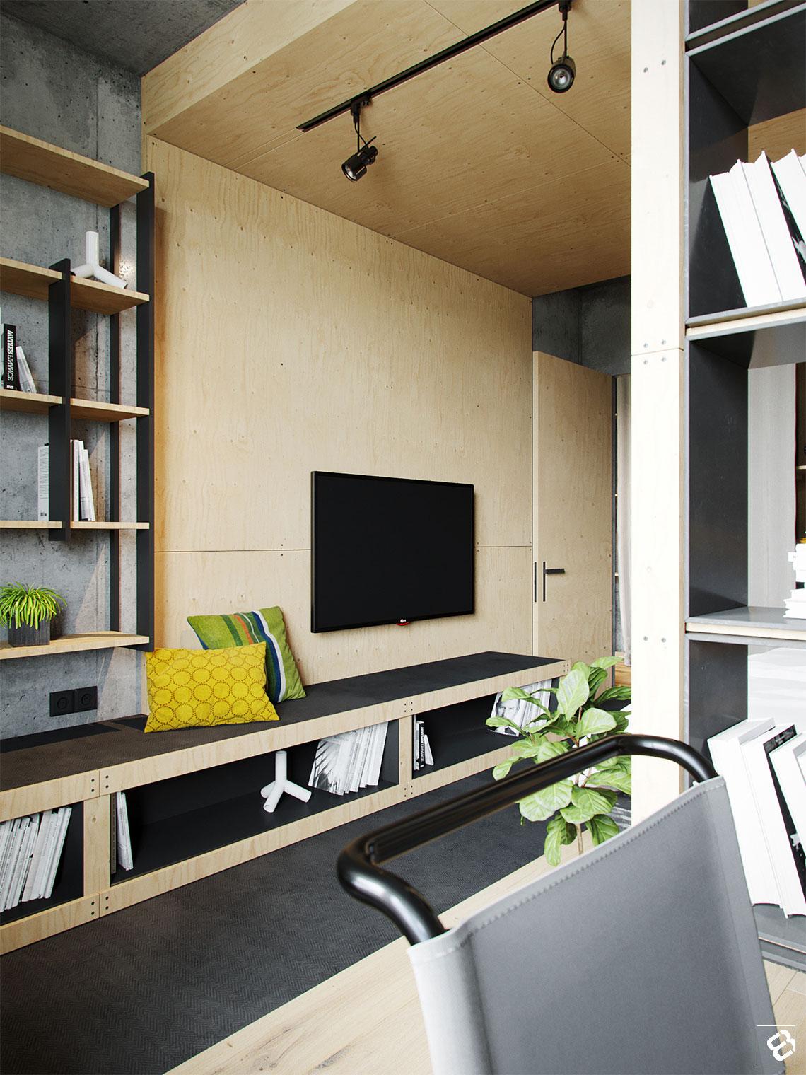 Stoere slaapkamer met beton en underlayment