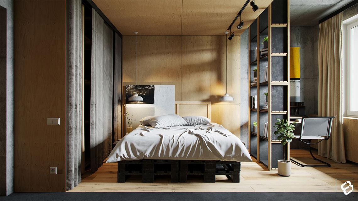 Stoere slaapkamer met beton en underlayment | Interieur inrichting