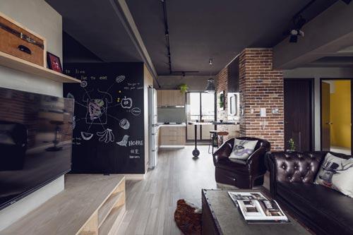 Stoere woonkamer met open kantoorinterieur inrichting interieur