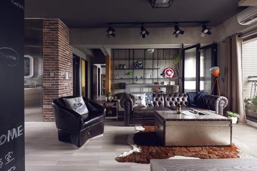 Stoere woonkamer met open kantoorinterieur inrichting for Kantoor interieur ideeen