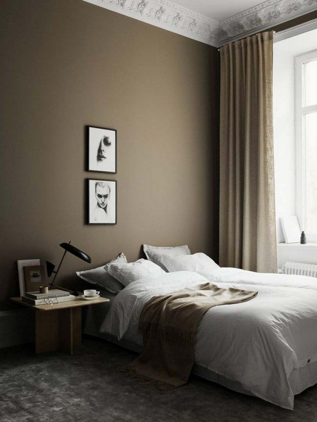 taupe muur slaapkamer