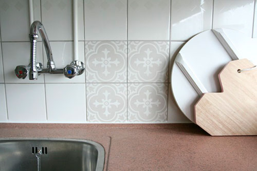 Tegelstickers interieur inrichting - Tegel patroon badkamer ...