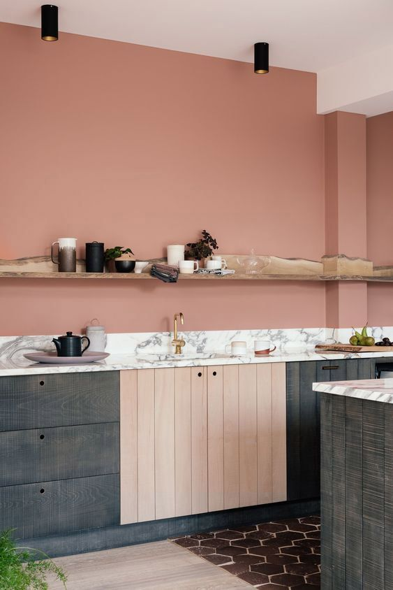 terracotta muur keuken