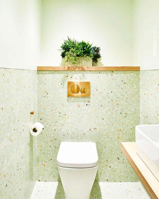 terrazo tegels toilet groen
