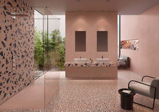 terrazzo vloer roze