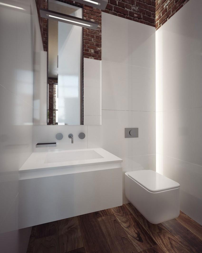 Toilet met bakstenen muur en witte wandtegels interieur inrichting - Bakstenen muur woonkamer ...