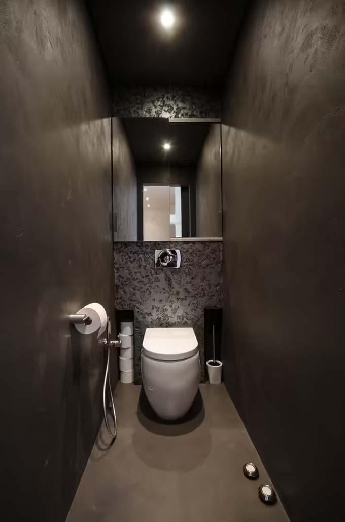 toilet inspiratie donker ontwerp