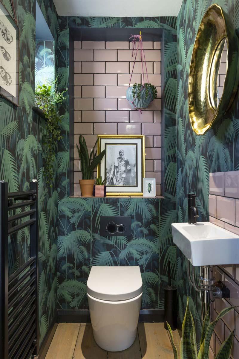 toilet inspiratie jungle behang