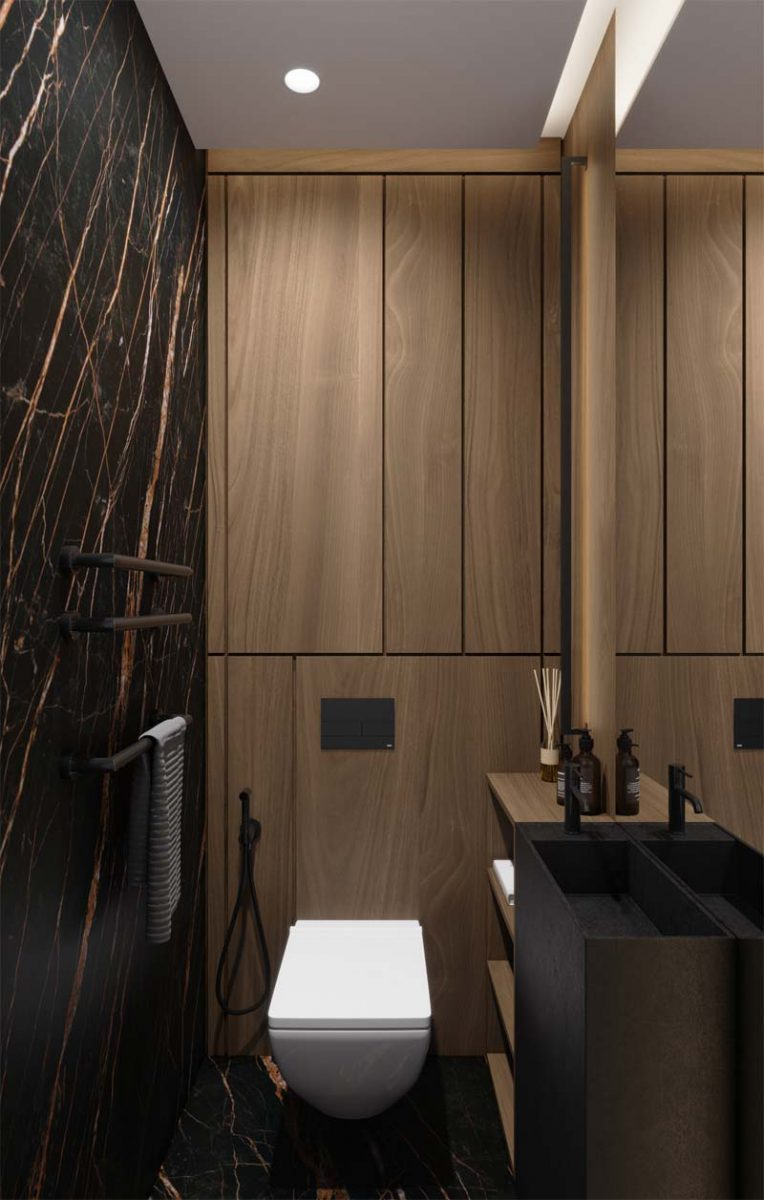 toilet inspiratie luxe toilet donker marmer