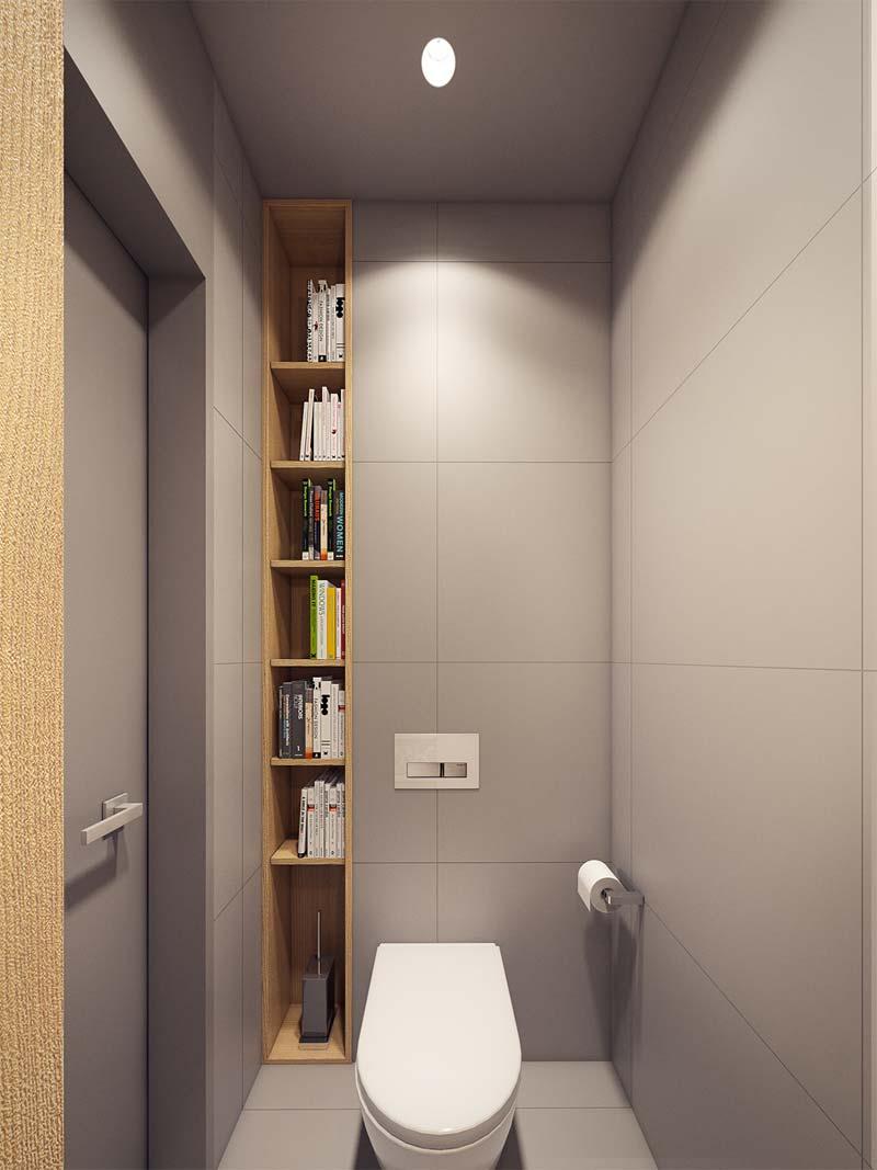 toilet inspiratie open houten inbouwkast in nis