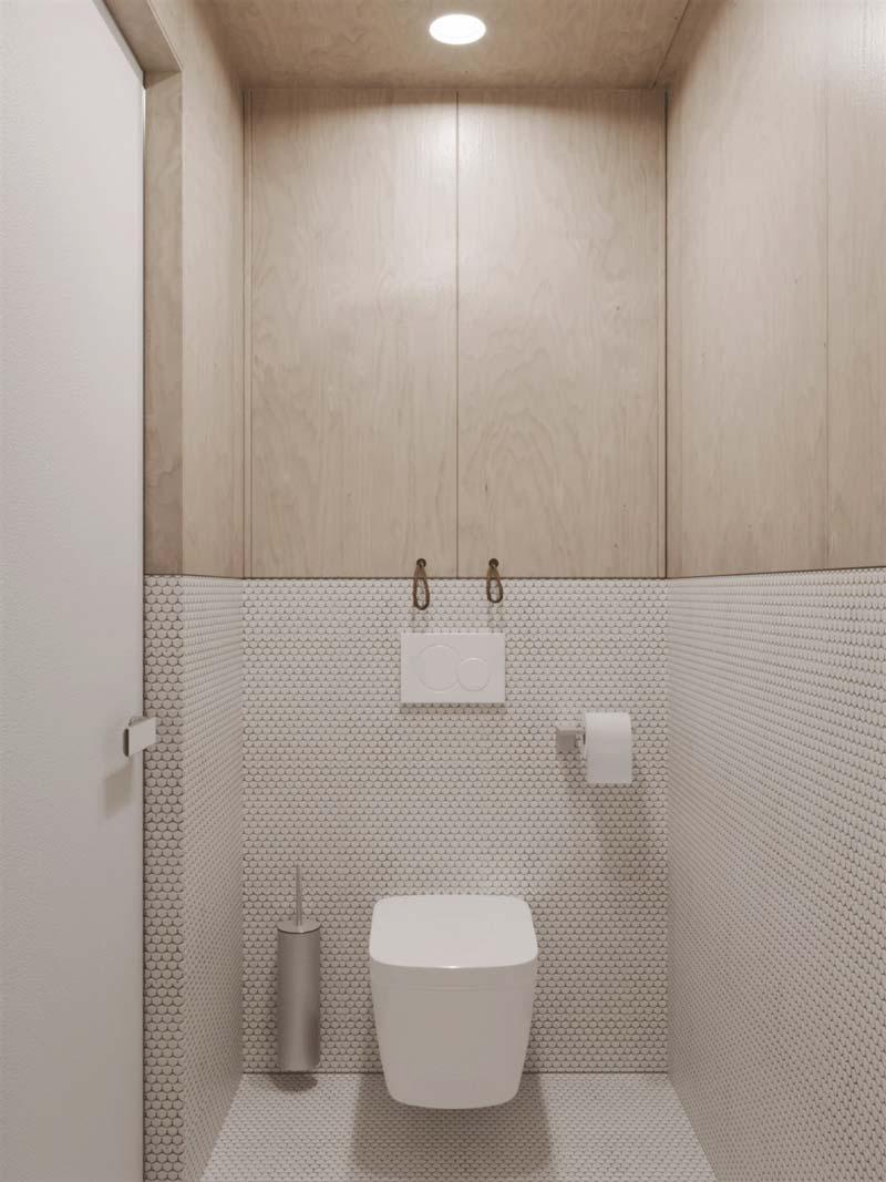 toilet ontwerp multiplex witte pennytiles tegels