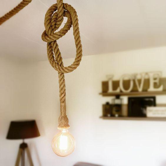 touw lamp interieur inrichting. Black Bedroom Furniture Sets. Home Design Ideas