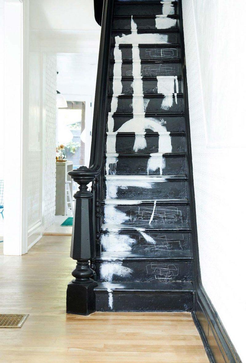 trap ideeën zwarte trap wit abstract kunstwerk