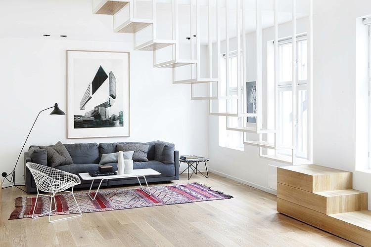 trap ideeen zwevende open trap in de woonkamer