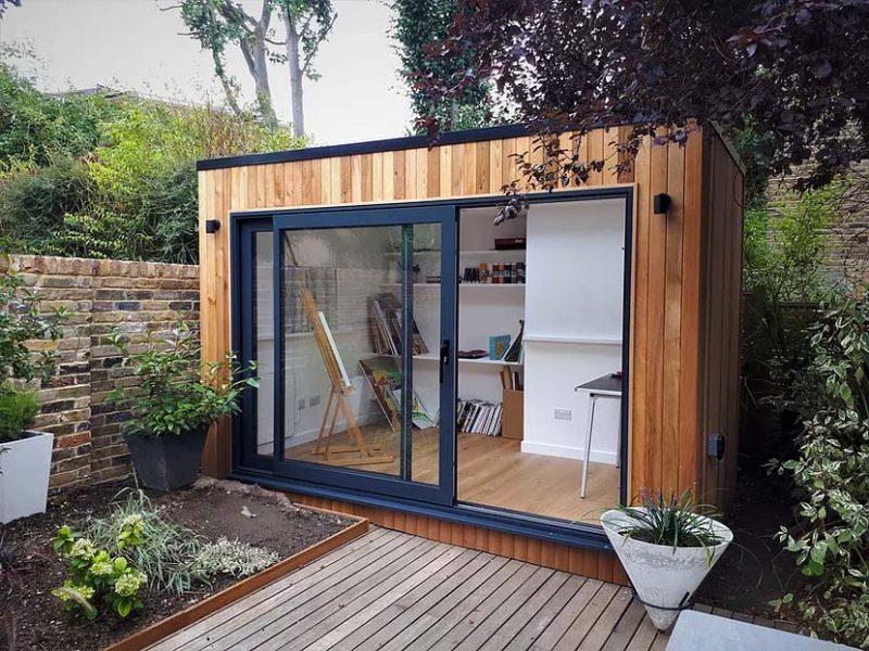 tuinhuis glazen schuifwand atelier