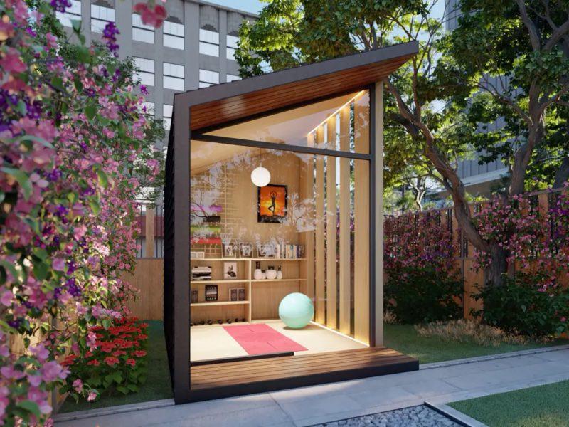 tuinhuis glazen schuifwand yoga studio
