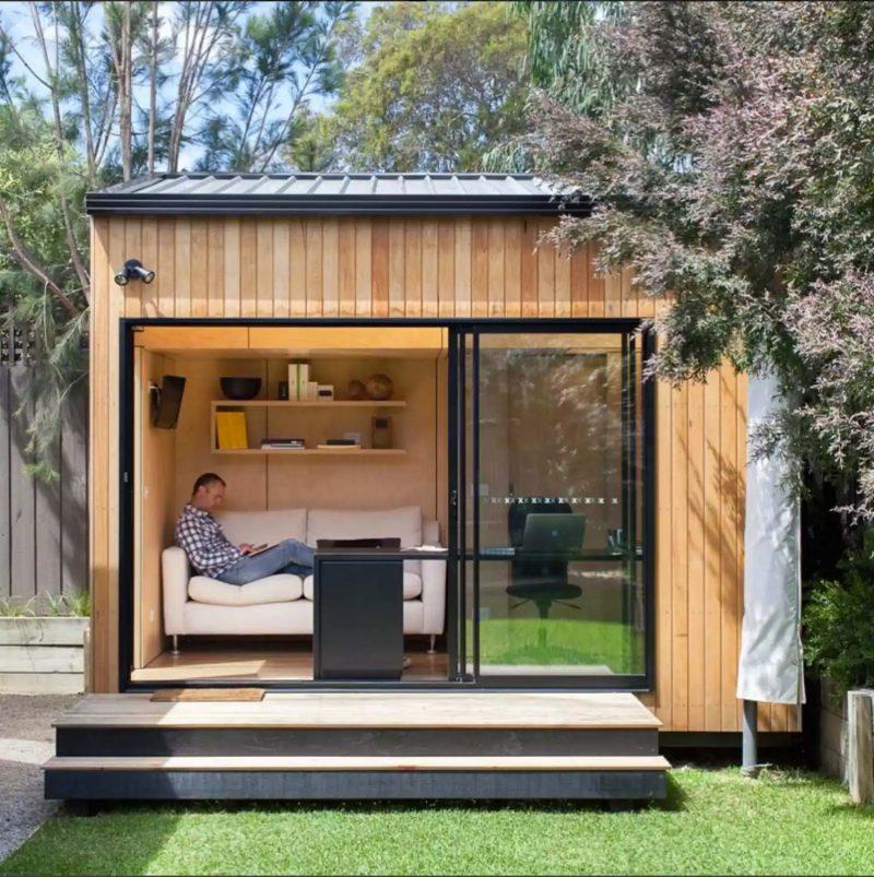tuinhuis met schuifwand kantoor