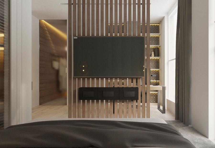 TV aan roomdivider slaapkamer kantoor